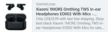 Écouteurs intra-auriculaires 1MORE Omthing TWS EO002 avec micros Prix: 25,99 $